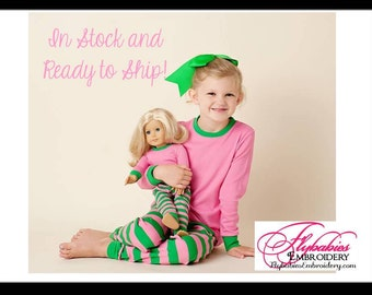 "Matching Girl & Doll PJ set - Personalized Pajamas for 18"" Doll ~ FREE Personalization ~ Quick Shipping"