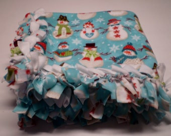 Snowman Blanket, Hand Tied Fleece, Warm, Winter, Twin size Blanket