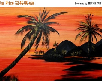 """SALE HUGE Oil Landscape painting Abstract Original Modern 48x30 """"Sunset Palms"""" oil painting by Nicolette Vaughan Horner"""