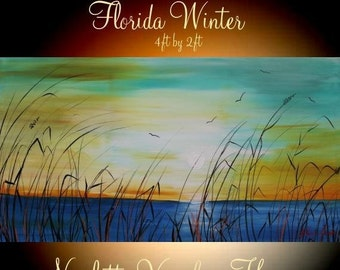 """SALE XL ORIGINAL 48"""" x 24""""  Abstract Acrylic gallery canvas-Contemporary Modern Florida Winter Marsh Oil painting by Nicolette Vaughan Horne"""