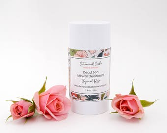 All Natural Dead Sea Mineral Deodorant in Tropical Rose, Baking Soda Free, All Natural