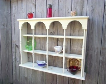 Shabby 3 Tier Display Teacup & Saucer Curio Wall Shelf with Columns - BIG - Holds 12 Cups Saucers - Country Chic Primitive #1