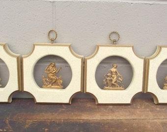 Hollywood Regency Greek goddess Brass and Gold Wall Plaques Set of 4 - Mythology Wall Art Decoration - Aphrodite - Athena - Demeter - Hera