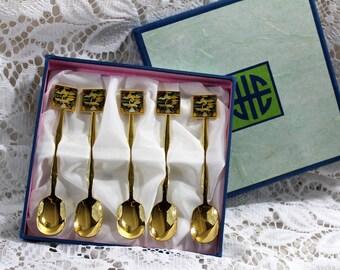 Fons, gold plated, collector teaspoon set, cloisonne flying cranes, original box