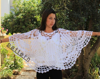 Crochet poncho pattern  Lacy pelerine PDF  Bride wedding poncho cape pattern Wedding poncho shawl pattern Shawl poncho