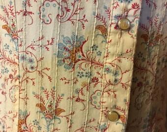 Vintage Wrangler Pearl Snap Shirt Western Arrow Pockets Beige Floral Paisley
