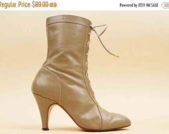 SALE 25%OFF 80s Vtg Cinderella CUSTOM rare Size 2 Taupe Genuine Leather High Heel Lace Up Ankle Boots / Almond Pointy Toe Eu 33 Uk 1
