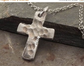 SPRING SALE 25% OFF Small Sterling Silver Christian Cross Pendant Necklace Handmade Jewelry for Children, Men or Women