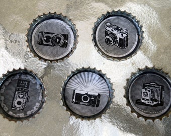 Antique and Classic Cameras Bottle Cap Magnet Set of 5