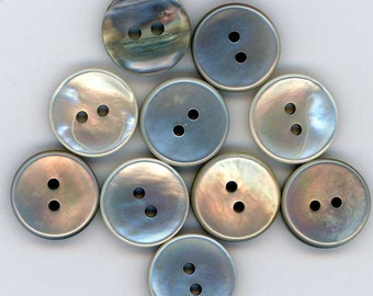 Set of 10 Vintage Iridescent Silver White Mother of Pearl Shell Buttons ~ 9/16 Inch 14mm ~ MOP Sewing Buttons