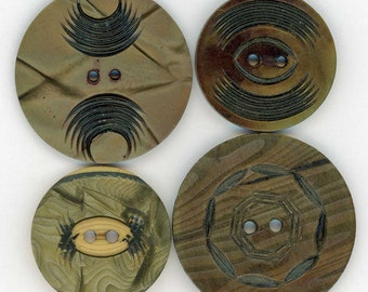 Celluloid Wafer Buttons ~ Mixed Lot of 4 Vintage Celluloid Sewing Buttons ~ 2 @ 1-3/8 inch 35mm ~ 2 @ 1-5/64 inch 27mm