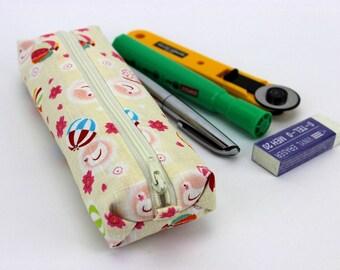 Retro Pen Holders, Unique Gift Idea, Fabric Pencil Case, Pigeons Cream