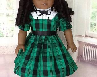 18 inch doll dress. Fits American Girl Dolls. Green and black taffeta.