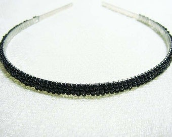 Black Beaded Headband Alice Hair Band Tiara - Pearl Collection (Limited Edition) HB5SO