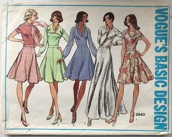 Vogue Dress Pattern 2840 Size 14 c. 1973