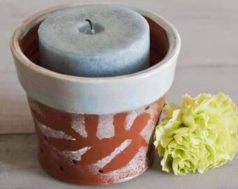 Terracotta Pottery, Candle Holder, Terracotta planter, Wheel thrown pottery, earthenware planter, handmade clay planter, Utensil Holder