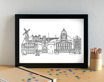 Nottingham Landmarks Print - Nottingham Art Print - Nottingham Wedding Gift - Bon Voyage Gift - Housewarming Art - Nottinghamshire Art