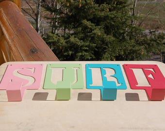 Beachy Surf Wall Hanger Hooks Metal Bold Bright Retro  Set of 4