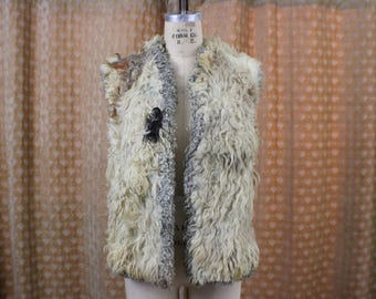 Embroidered Curly Lamb Vest / 60's - 70's Shaggy Mongolian Fur Vest / Reversible Shearling Outerwear