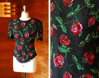 vintage red rose silk and sequin blouse / size medium