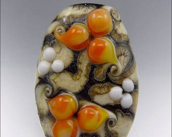 ORANGE, BLACK & IVORY  - Freeform Lampwork Focal Bead - Handmade Jewellery Supplies - by Stephanie Gough sra fhfteam leteam