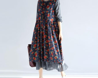Spring loose cotton two-piece long dress