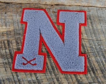 Vintage Varsity Letter N Red and Gray Wool