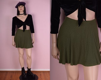 90s Olive Ribbed Skirt/ Large/ 1990s