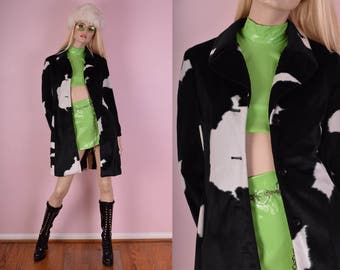 90s Fuzzy Cow Print Coat/ XS/ 1990s/ Jacket/ Black/ White