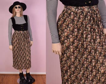 90s Floral Print Gathered Skirt/ Large/ 1990s