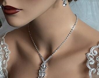 Bridal jewelry set, Wedding jewelry set, Bridal backdrop necklace earrings, crystal necklace statement, crystal jewelry set, pearl jewelry