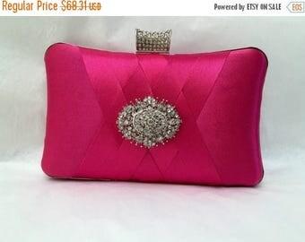 wedding clutch, formal clutch, Hot pink clutch, evening bag, bridesmaid clutch, bridesmaid bag, crystal clutch