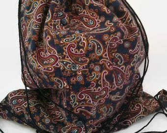 Blue Paisley Cinch Sack Upcycled From Man's Shirt, Drawstring Backpack