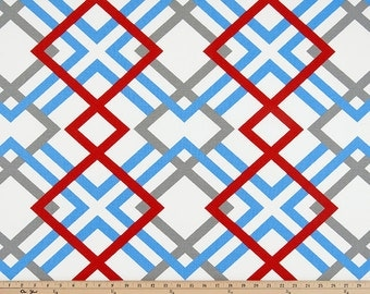Blue Gray Red White Winston Geometric Modern Curtains, Rod Pocket, 63 72 84 90 96 108 or 120 Long by 24 or 50 Wide,