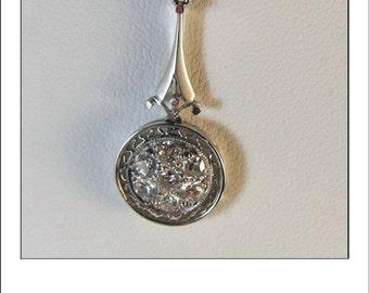 Antique Art Deco Platinum Mine Cut Diamond Cluster Pendant and 14k Chain