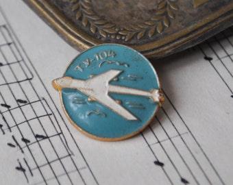 "Vintage Soviet Russian badge,pin.""Russian aircraft TU-104"""