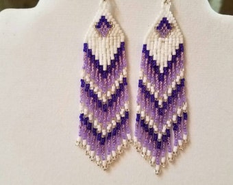 Native American Style Beaded Purple and White Earrings Shoulder Dusters Southwestern, Boho, Gypsy, Brick Stitch, Peyote, Great Gift