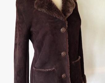 Vintage shearling jacket Barneys New York chocolate size 7 freshly cleaned fur jacket leather jacket