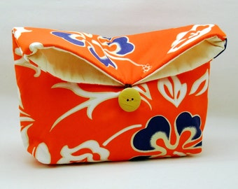 Foldover clutch, Fold over bag, clutch purse, evening clutch, wedding purse, bridesmaid gifts - Hibiscus (Ref. FC36 )