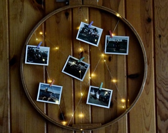 Repurposed Vintage Embroidery Hoop Turned into Lighted Photo Display