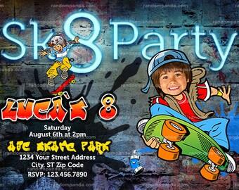 Personalize Skater Party Invitation, Skateboard Birthday Invite