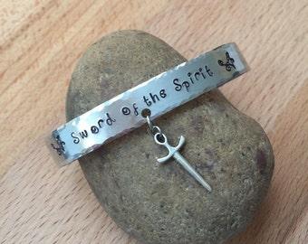 Hand stamped bracelet/ cuff bracelet/ sword of the spirit/ stamped bangel bracelet/ personalized bracelet/ sword