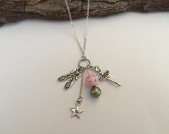 Ballet necklace/ ballerina charm necklace/ recital gifts/ recital jewelry/ pink and silver ballet necklace/ ballet shoes charm
