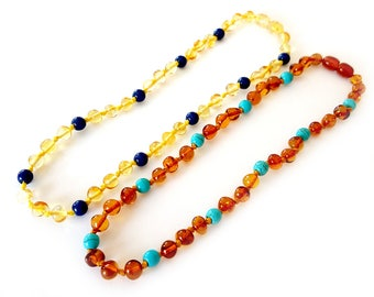 Two NATURAL BALTIC AMBER Perfect Baby Teething Necklaces Light and Cognac with Authentic Sertificates