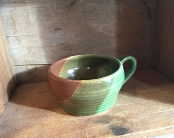 Cappuccino Latte Coffee Cup Mug in Sandstone Spearmint by village pottery prince edward island