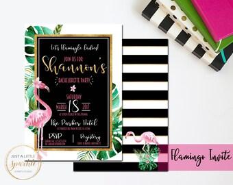 Bachelorette shower invite, Flamingo Shower invitation, black and gold Bridal shower invite, flamingo Bridal invite, Modern Bridal shower