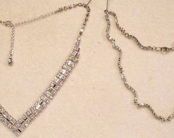 2 Amazing Vintage Swarovski Rhinestone necklaces