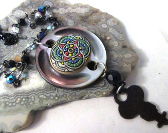 LONG LAYERING Vintage Smoky Mother of Pearl Button, Key and Cabochon Steampunk Assemblage Necklace on STUNNING Vintage Rosary Chain