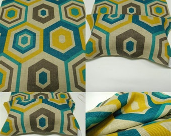 "Lee Jofa- GWF-HexagonTile -pc w 25""x36"" long-Fabric Remnant-Teal -Upholstery Fabric"