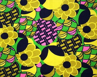 Vintage 60s MOD Fabric 1-2/3 Yards 1960s 1970s Psychedelic Flower Power Hippie Boho Dress or Home Decor Material Mustard Yellow Pink Green